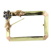 Antique 14K Yellow And Rose Gold Sapphire Frame Brooch