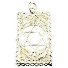Vintage 14 Karat Yellow Gold Star of David Pendant