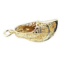 Vintage 14 Karat Yellow Gold Filigree Dutch Shoe Charm