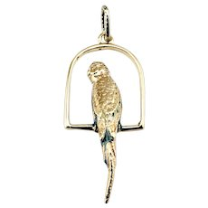 Vintage 14 Karat Yellow Gold Parrot on Perch Charm