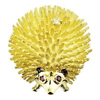 Vintage 14 Karat Yellow Gold, Ruby and Diamond Hedgehog Brooch/Pin