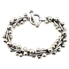 Vintage Mexico Sterling Silver Twisted Bead Toggle Bracelet