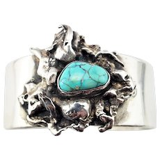 Vintage Abstract Dripped Sterling Silver Turquoise Cuff Bracelet