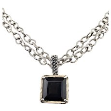 Vintage Shannon Diego 2001 Sterling Silver 14K Yellow Gold and Smokey Topaz Enhancer Link Necklace