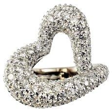 Vintage 14 Karat White Gold Pave Diamond Heart Ring Size 4.75 GAI Certified
