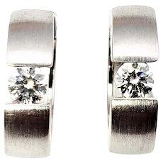 Vintage 18 Karat White Gold and Diamond Hoop Earrings GAI Certified