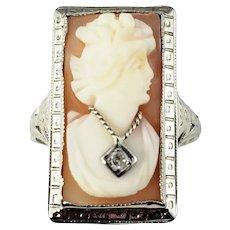 Vintage 14 Karat White Gold and Diamond Cameo Ring Size 7.5