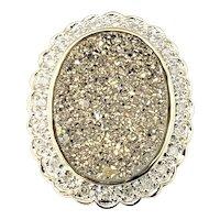 Vintage 14 Karat Yellow Gold Druzy and Diamond Pendant
