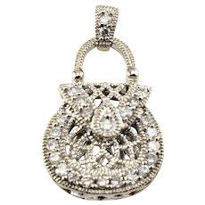 Vintage 14 Karat White Gold Diamond Purse Pendant