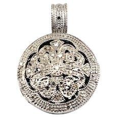 Vintage 14 Karat White Gold and Diamond Locket Pendant