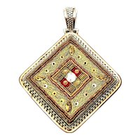 Sterling Silver Two-Tone Large Pendant Enhancer with Silk Thread Accent