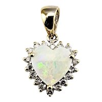Vintage 14 Karat Yellow Gold Opal and Diamond Heart Pendant