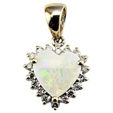 Vintage 14 Karat Yellow Gold Opal and Diamond Heart Pendant