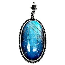 Vintage English Sterling Silver Blue Morpho Butterfly Wing Pendant