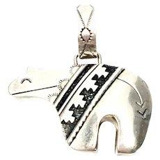 Navajo Thomas Singer Sterling Silver Overlay Spirit Bear Pendant