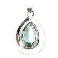 Vintage Mexico Large Sterling Silver Teardrop Aquamarine Glass Pendant