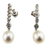 Vintage 14 Karat White Gold Pearl and Diamond Dangle Earrings