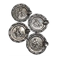 4 Antique Germany 800 Silver Cherub Putti Round Ashtrays