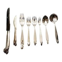 Peer Smed Sterling Silver Calla Lily Flatware Serv for 10, Salad Set, Extra Pcs