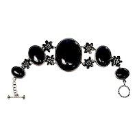 Sterling Silver Black and Onyx Flower Link Toggle Bracelet