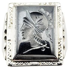 Vintage 10 Karat White Gold and Hematite Roman Soldier Ring Size 9.75