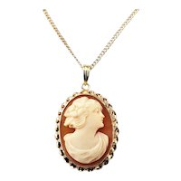 Vintage 10 Karat Yellow Gold Cameo Necklace
