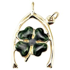 Vintage 14 Karat Yellow Gold and Enamel Shamrock Wishbone Pendant