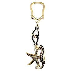 Vintage 18 Karat Yellow Gold and Enamel Starfish and Seahorse Keychain