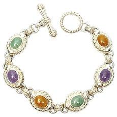 Judith Ripka Sterling Silver Multi-Color Jade Link Toggle Bracelet