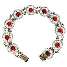 Vintage 800 Silver Filigree Link Red Paste Link Bracelet