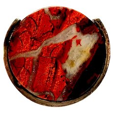 Vintage American Studio Fingem Modernist Red Jasper Ring