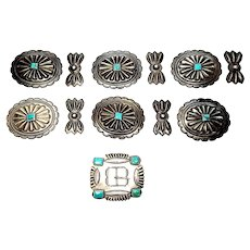Native American Sterling Silver Concho Belt Slides & Butterflies with Buckle