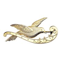 Vintage 9 Karat Yellow Gold Dove Brooch/Pin