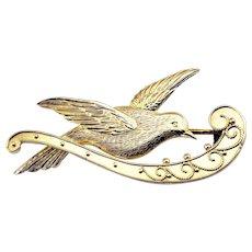 Vintage 9 Karat Yellow Gold Dove Brooch/Pin