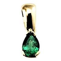 Vintage 18 Karat Yellow Gold and Emerald Pendant