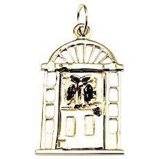 Vintage 14 Karat Yellow Gold Mechanical Christmas Door Charm