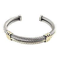 Vintage David Yurman Sterling Silver and 14 Karat Yellow Gold Cable Cuff Bracelet