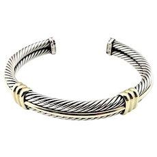 Vintage David Yurman Sterling Silver and 14 Karat Yellow Gold Cable Cuff Bracelet