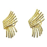 Vintage Tiffany & Co. Schlumberger 18 Karat Yellow Gold Clip On Earrings
