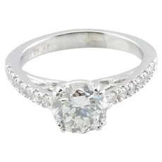 GIA Certified Platinum and Round Brilliant Diamond Engagement Ring 1.07ct Center Diamond