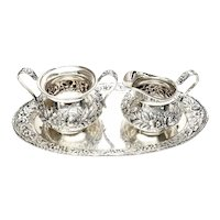 S Kirk & Son Sterling Silver Repousse 418 AF Creamer Sugar Bowl and Tray Set