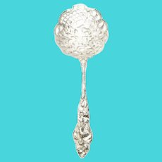 Antique Sterling Silver Pierved Filigree Floral and Bird Serving Spoon