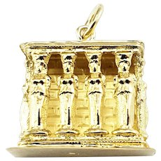Vintage 18 Karat Yellow Gold Greek Caryatid Porch of the Erechtheion Charm