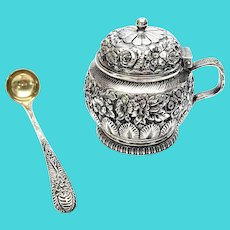 Antique 1881 Tiffany & Co Makers Sterling Silver Repousse Mustard Pot with Spoon