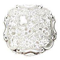 Vintage 900 Silver Floral and Stripe Etched Compact