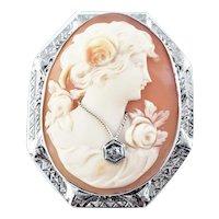 Vintage 10 Karat White Gold Cameo Brooch/Pendant