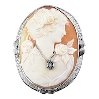 Vintage 14 Karat White Gold Cameo Brooch/Pin
