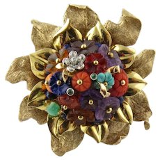 Vintage 14K Yellow Gold Multi Gem Flower Brooch Pin