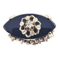 Vintage 14 Karat Yellow Gold Black Onyx and Diamond Ring Size 7.75