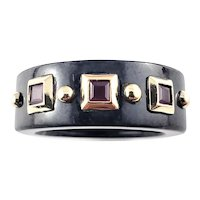 Vintage Black Marble and 10 Karat Yellow Gold Ring Size 9